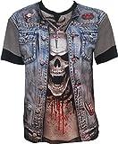 Spiral Thrash Metal Denim Cuts Waistcoat Skull Biker Rock Horror Goth T-Shirt