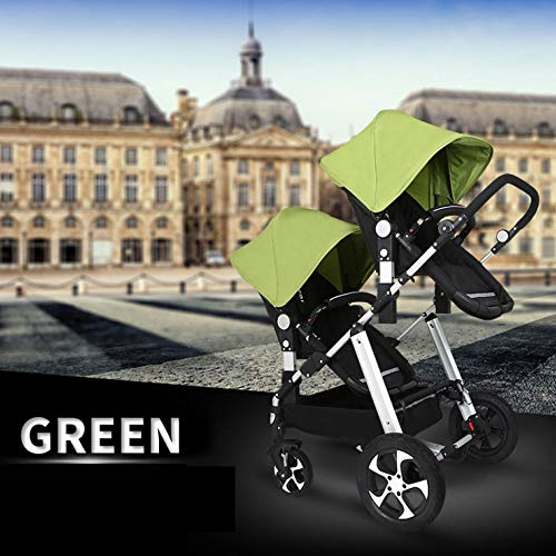 GHH Double Strollers Baby Pram Tandem Buggy Newborn Pushchair Ultra Light Folding Child Shock Absorber Trolley Can Sit Half Lying 0-3 Years Old(Maximum Loadable 50Kg Baby),Platinum/green  CBDFG