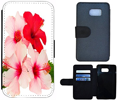 Flip Cover Schutz Hülle Handy Tasche Etui Case für (Apple iPhone 5 / 5s, 1103 London Big Ben England Rot Grau) 1101 Hibiskus Blume Rot Pink Rosa