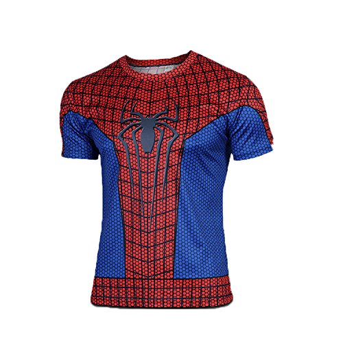 Born2RideTM Shirt im Superheld-Kostüm für Fitnessstudio/Radsport, Compression Baselayer T-Shirt mit kurzen Armen für Herren Gr. M, spiderman