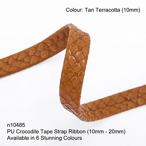 Neotrim Zierband aus Kunstleder im Krokodil-Look, zum Zuschneiden, umwerfende Textur, markantes Verzierungselement, Gewebe Synthetisch, Tan Terracotta, 10.5 meters (3 reel of 3.5mts) - Tan Krokodil