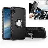 Funda iPhone X / 10 REXANG [Con 360 ° Kickstand] Rotativo Ring Caso [Montaje de Coche Magnético] Carcasa Doble Capa a Prueba de Choque Protectora para iPhone X (iPhone X/10, Negro)