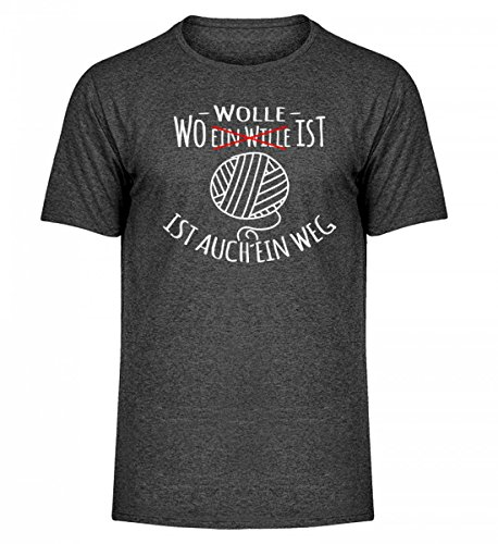 Shirtee Hochwertiges Herren Melange Shirt - Wo Wolle ist, ist Auch ein Weg Dunkelgrau Meliert
