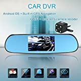 "KKmoon Dual-lens Car DVR Camera Recorder 5"" 1080P Android Smart System Car Rearview Mirror Built in GPS Navigation WIFI Car GPS Sat Nav with Free EU Map"