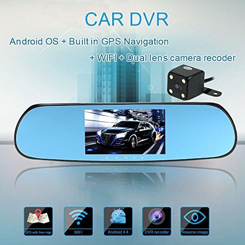 """KKmoon 5"""" 1080P GPS Navegador Espejo Retrovisor (DVR Grabadora, Camára Trasera FHD, Android, WIFI, Dual Lens, G-sensor, Detección de Movimiento, Mapa)"""