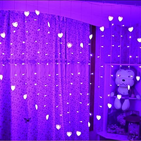 1pcs 1.5*2m 124 LED Love Heart-shaped Fairy String Window Curtain Lights for Outdoor Indoor Wedding Christmas Party Decor