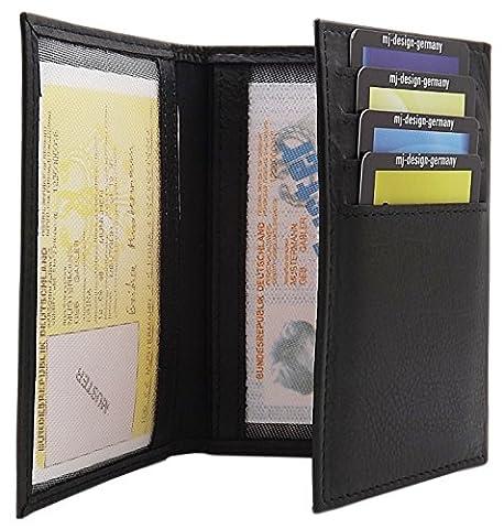 Élégante cuir de veau pochette de carte d'identité et porte carte de crédit MJ-Design-Germany Made in UE en 3 diverses couleurs (Noir)