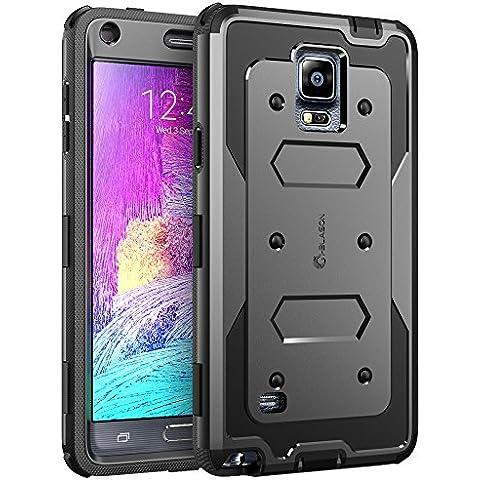 Custodia Galaxy Note 4, i-Blason Custodia armatura a doppio strato protezione completa per Samsung Galaxy Note 4 [SM-N910S / SM-N910C] con Cover fronte e protezione salvaschermo integrata / Bumper resistente agli urti(Nero)