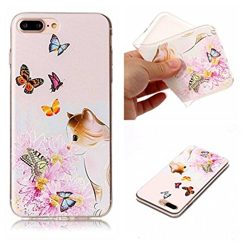 Apple iPhone 7 Plus 5.5 Hülle, Voguecase Schutzhülle / Case / Cover / Hülle / TPU Gel Skin (Schildkröte) + Gratis Universal Eingabestift Katze Fang Schmetterling 02