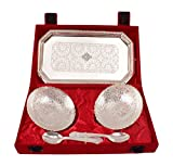 #4: IndianArtVilla High Qualilty Silver Plated 2 Bowl Deep Dish 2 Spoons 1 Tray for use Desert ice cream Serving Restaurant Hotel Home Ware Anniversary Wedding Valentine Diwali Gift Item