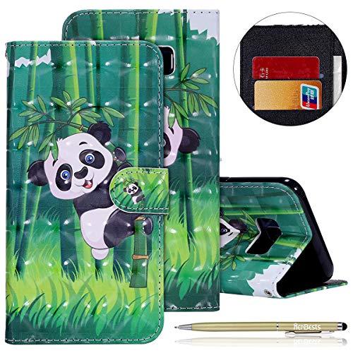 Kompatibel mit Galaxy S8 Plus Lederhülle Glitzer 3D Glänzend Bunt Muster Hülle Leder Tasche Bookstyle Brieftasche Schutzhülle Flip Case Cover Handytasche,Panda