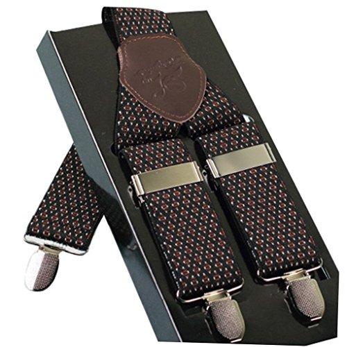 ACME - Bretelles Y entièrement réglable Cuir Carreaux Pour Homme avec 3 clips élastique Solide Casual Pantalon Jeans Couleur 5