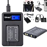 TOP-MAX® EN-EL19 Battery + Rapid USB Charger with LCD Screen for Nikon Coolpix S32 S100 S2500 S2550 S2600 S2700 S2750 S3100 S3200 S3300 S3400 S3500 S3600 S4100 S4150 S4200 S4300 S4400 S5200 S6400 S6500 S6600 S6700 S6800 S6900 S7000