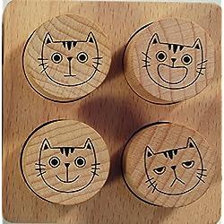 Avenue Mandarine CO154C Set mit 4 Stempeln, aus Holz, ideal für Lehrer, Kinder oder Scrapbooking, geeignet für Kinder ab 4 Jahren, 1 Set, Bewertung