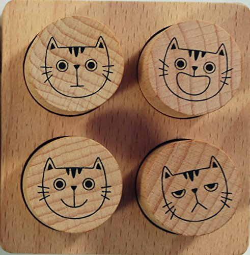 Avenue Mandarine CO154C Set mit 4 Stempeln, aus Holz, ideal für Lehrer, Kinder oder Scrapbooking, geeignet für Kinder ab 4 Jahren, 1 Set, Bewertung -
