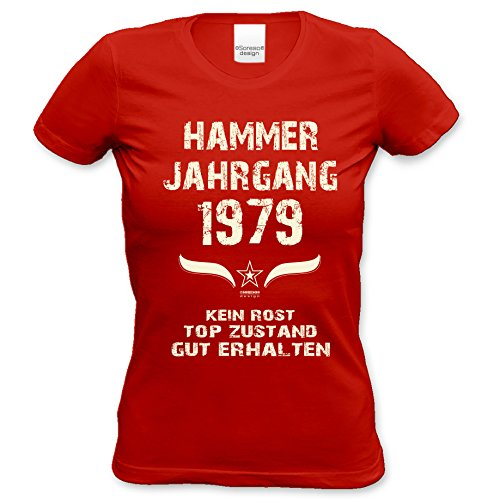 Girlie Tshirt zum 37.Geburtstag Print-Motiv: Hammer Jahrgang 1979 Farbe: rot Rot