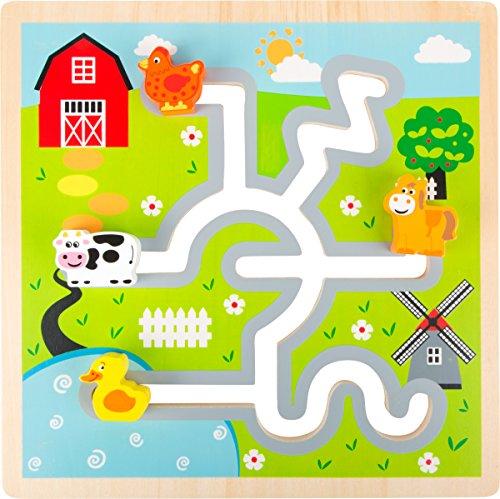 Small Foot 10589 Schiebe-Puzzle aus Holz mit Huhn, Pferd, Kuh und Ente als Puzzleteile, Die Bauernhoftiere Können zu leicht Auf Der Strecke Verschoben werden um zu Ihren Richtigen Plätzen zu Gelangen