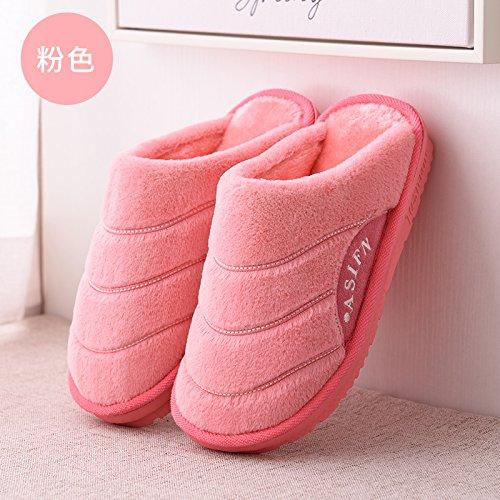 DogHaccd pantofole,Autunno Inverno soggiorno coppie uomini pantofole di cotone spessa coperta indossare caldo antiscivolo pavimento in legno pantofole Rosa2