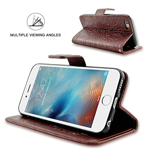 iPhone 6S Plus Hülle Fraelc® iPhone 6 Plus Flip-Case Premium Kunstleder Tasche im Bookstyle Klapphülle mit Weiche Silikon Handyhalter Lederhülle für iPhone 6 Plus / 6S Plus (5,5 Zoll) Indische Sonne D Braun