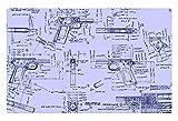 irocket Innen Boden Teppich/Matte–Colt 1911Baupläne (59,9x 39,9cm 60cm x 40cm)