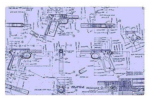 iRocket Innen Boden Teppich/Matte-Colt 1911Baupläne (59,9x 39,9cm 60cm x 40cm) (Colts-fußmatten)