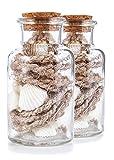 Heitmann Deco - Glasflasche mit Muscheln und Tauwerk - maritime Deko für Sommer und Frühling - Tischdeko