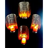 Collectible India Iron Golden Wall Sconces Candle Holder | Tea Light Wall Hanging Holders | Wall Mounted Glass Tealight Candles For Home Living Room Decorations & Gifts