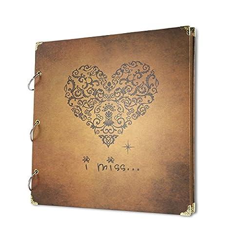 FaCraft Scrapbook Love Scrapbook Album mit Scrapbook Aufbewahrungsbox Jahrestag Vintage Scrapbook Aufnahme Geschenke, I Miss, Hochzeit Gästebuch, Travel Book