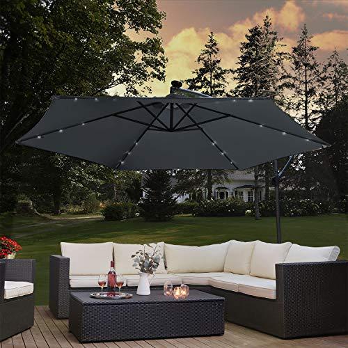 ArtLife Ampelschirm Brazil Ø 300 cm | Led Beleuchtung, Kurbel & Ständer | grau | Stahl | Sonnenschirm Gartenschirm