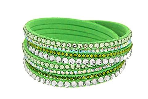 Kettenworld Damen-Armband Glas grün 38 cm