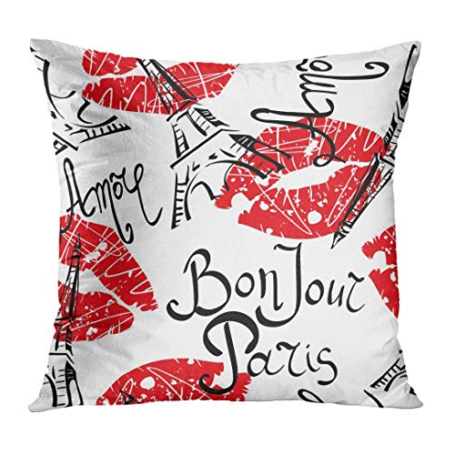 low Cover France Bonjour Paris with Original Calligraphic Fonts Sketch Eiffel Tower and Lips Abstract Black Decorative Pillow Case Home Decor Square 18x18 Inches Pillowcase ()