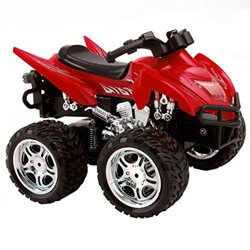 Goplus 4D ATV 2.4G RC Motorrad Racing Bike Kinder Spielzeug Fernbedienung Motorcycle Rennmaschine Geschenk (Rot)