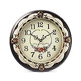 ZUOANCHEN Horloge Murale, Horloge Murale De Style Rétro Vintage Pour Cuisine Salon, Horloge Murale Décoration De L'hôtel Rural Horloge Murale En Métal Silencieux 14 Pouces, Non Ticking (brun Foncé)