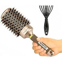 Brosse Poils de Sanglier MERUTEE Brosse à cheveux de style avec poils de sanglier pour le séchage, le curling et le lissage, Nano Technology Ceramic + Ionic (2 pouces)