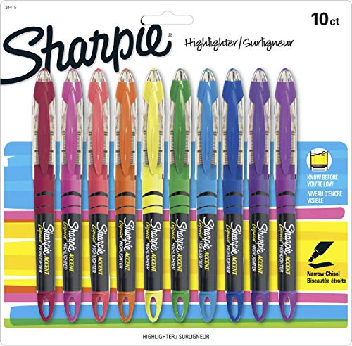 Accent Liquid Pen Style Highlighter, Chisel Tip, Assorted, 10/Set, Sold as 1 Set