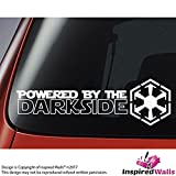 Star Wars Powered By The Darkside with Sith Logo - Auto, Laptop Etichetta - bianca by Inspired Walls®