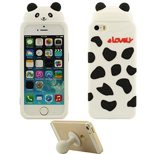 iPhone 5S Coque iPhone SE Étui Anti Choc Lovely Mignonne Animal Ours Désign Populaire Doux Silicone Gel Coque Protection Case pour Apple iPhone 5 5S SE 5C 5G Marron avec 1 Silicone Titulaire blanc