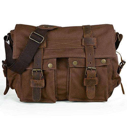 Peacechaos Messenger Bag Leather Canvas Shoulder Bookbag Laptop Bag + Dslr  Slr Camera Canvas Shoulder Bag (brown) 3a5ef0030d794