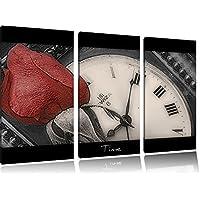 delicato rosa rossa su fondo nero orologio antico / bianco 3 pezzi di tela 120x80 immagine sulla tela, enorme XXL Immagini completamente incorniciata con barella, arte stampa su quadro a parete con cornice, gänstiger come un quadro o un dipinto a olio, non un manifesto o un banner