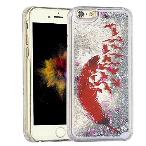 iPhone 6 6S,per Apple iPhone 6 Liquid Case,Asnlove Custodia 3D Creative Liquido Scintillio Case Cover Bling Quciksand Trasparente di Plastica Dura Caso Dura Posteriore Bumper Shell Cover Design Piuma rojo argento