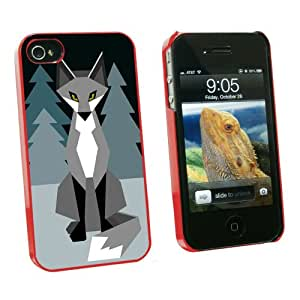 Graphics and More Geometric Winter Fox - Snap On Hard Protective Case for Apple iPhone 4 4S - Red - Carrying Case - Non-Retail Packaging - Red