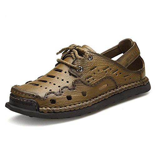 GLSHI Nuovi sandali da uomo in pelle Scarpe casual Scarpe da spiaggia in pelle fatte a mano Scarpe all'aria aperta di moda (Colore : Marrone, Dimensione : 42)