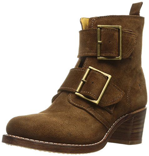 FRYE Women's Sabrina Double Buckle Suede Boot, Wood, 7 M US (Suede Buckle Boot)