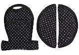 Coussinets de protège ceinture universel pour siège auto et poussette - Noir avec des points♥