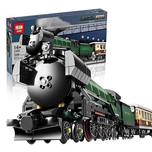 #21005 LEPIN con la marca city vías férreas verde tren juego con carro & car - compatible bricks set construcción