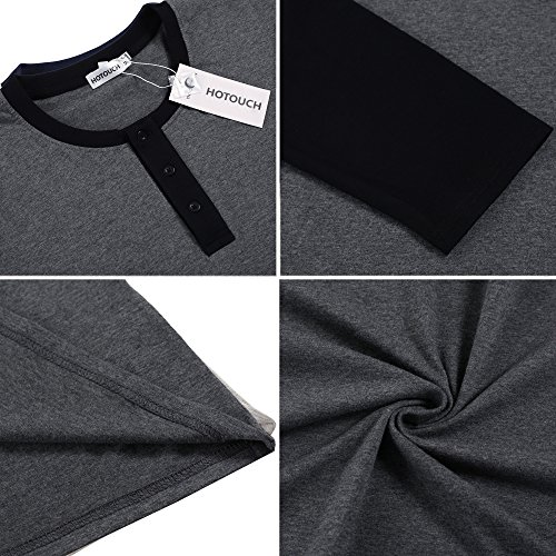 HOTOUCH Herren Langarmshirt Basic T-Shirt Henleyshirt Kontrast Tee Aus Baumwolle Typ3-Dunkelgrau/Schwarz
