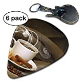 Brown A Cup of Coffee and Coffee Bean Food Guitar Picks Instruments Accessories (6pc) Celluloid Paddles Plectrums for Thin Medium Heavy Gauges Gift.96mm