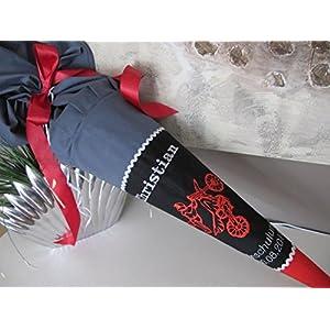 #8 Stuntman BMX Motocross schwarz-rot-grau Schultüte Stoff + Papprohling + als Kissen verwendbar