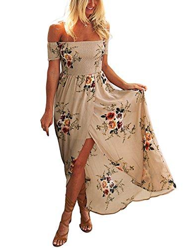 ISASSY Vestiti Donna Eleganti Estivo Lungo Vestito Spalla Nuda Floreale Spiaggia Abito pacco Partito Cocktail Marrone Chiaro M(UK8-10)/(EU36-38)