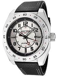 Sector - R3251660015 - Race GMT - Montre Homme - Quartz Analogique - Dateur - Bracelet Cuir Noir - Cadran Gris Acier